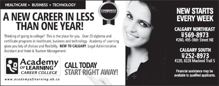 Academy of Learning Career and Business College (403-569-8973) - Annonce illustr&eacute;e