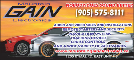 Mountain Gain Electronics (905-575-8111) - Display Ad - Mountain NOBODY DOES SOUND BETTERBODY DOES SOUND BETT Electronics www.mountaingainelectronics.ca