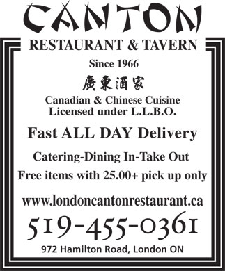 Canton Restaurant & Tavern (519-455-0361) - Display Ad
