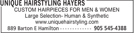 Unique Hairstyling Hayers (905-545-4388) - Display Ad - CUSTOM HAIRPIECES FOR MEN & WOMEN Large Selection- Human & Synthetic www.uniquehairstyling.com