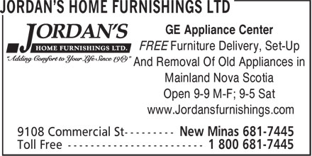 Jordan's Home Furnishings Ltd (902-681-7445) - Display Ad - GE Appliance Center FREE Furniture Delivery, Set-Up And Removal Of Old Appliances in Mainland Nova Scotia Open 9-9 M-F; 9-5 Sat www.Jordansfurnishings.com