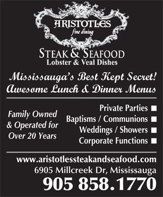 Aristotle's Steak & Seafood House (905-858-1770) - Annonce illustrée