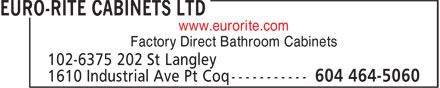 Euro-Rite Cabinets Ltd (604-464-5060) - Display Ad - www.eurorite.com Factory Direct Bathroom Cabinets
