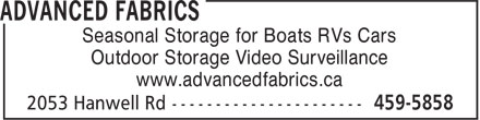 Advanced Fabrics (506-459-5858) - Display Ad - Seasonal Storage for Boats RVs Cars Outdoor Storage Video Surveillance www.advancedfabrics.ca