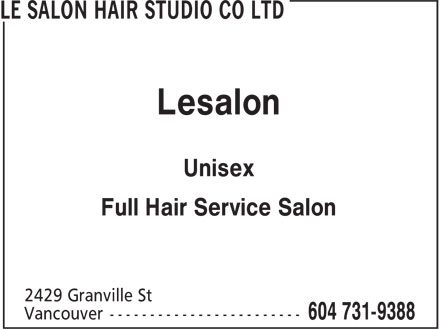 Le Salon Hair Studio Co Ltd (604-731-9388) - Display Ad - Lesalon Unisex Full Hair Service Salon