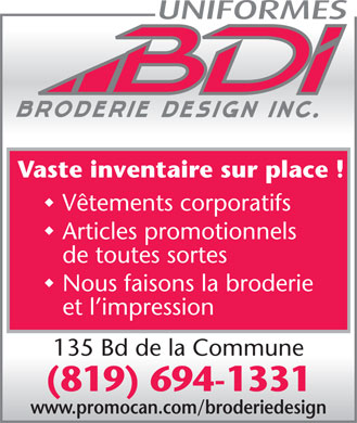 Uniformes BDI - Broderie Design Inc. (819-694-1331) - Display Ad