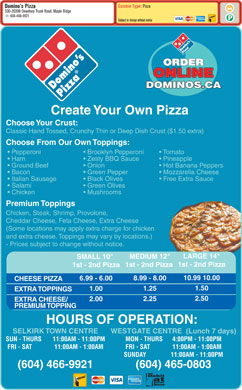 Domino's Pizza (604-465-0803) - Menu