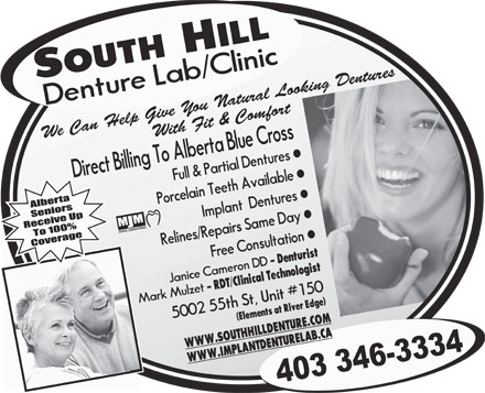 South Hill Denture Clinic/Lab (403-346-3334) - Annonce illustr&eacute;e