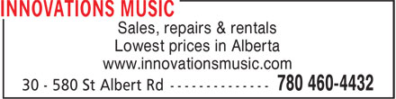Innovations Music (780-460-4432) - Display Ad - Sales, repairs & rentals - Lowest prices in Alberta - www.innovationsmusic.com