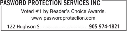 Pasword Protection Services Inc (905-645-1171) - Display Ad - Voted #1 by Reader's Choice Awards. www.paswordprotection.com