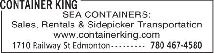 Container King (780-467-4580) - Display Ad - SEA CONTAINERS: Sales, Rentals & Sidepicker Transportation www.containerking.com