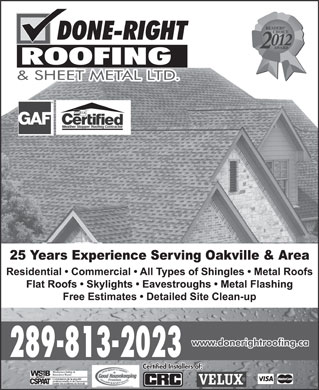 Done Right-Roofing & Sheet Metal Ltd (289-813-2037) - Annonce illustrée - 289-813-2023 Certified Installers of: