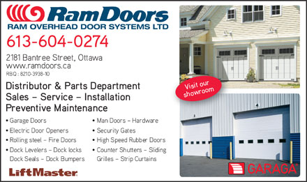 Ram Overhead Door Systems Ltd (613-749-2138) - Annonce illustrée - RAM OVERHEAD DOOR SYSTEMS LTD