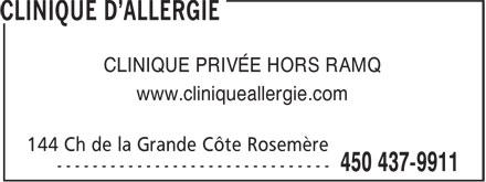 CA Clinique D'Allergie (450-437-9911) - Display Ad - CLINIQUE PRIVÉE HORS RAMQ - www.cliniqueallergie.com