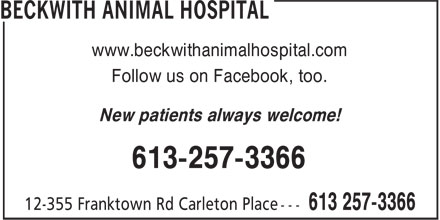 Beckwith Animal Hospital (613-257-3366) - Annonce illustrée - www.beckwithanimalhospital.com Follow us on Facebook, too. New patients always welcome! 613-257-3366