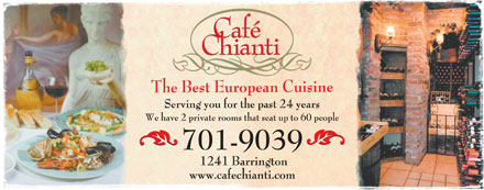 Cafe Chianti (902-704-2945) - Display Ad - Serving you for the past 24 years We have 2 private rooms that seat up to 60 people 1241 Barrington