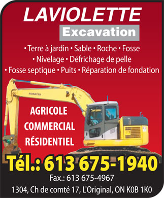 Laviolette Excavation (613-675-1940) - Display Ad
