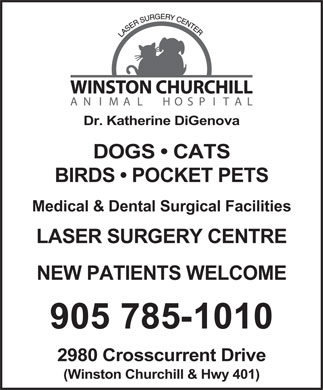 Winston Churchill Animal Hospital (905-785-1010) - Display Ad - Dr. Katherine DiGenova DOGS   CATS BIRDS   POCKET PETS Medical &amp; Dental Surgical Facilities LASER SURGERY CENTRE NEW PATIENTS WELCOME 905 785-1010 2980 Crosscurrent Drive (Winston Churchill &amp; Hwy 401)