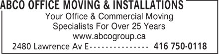ABCO Group Office Solutions Simplified (416-750-0118) - Display Ad - Your Office & Commercial Moving Specialists For Over 25 Years www.abcogroup.ca