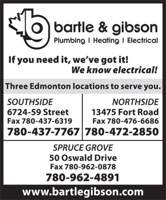 Bartle & Gibson Co Ltd (780-472-2850) - Display Ad