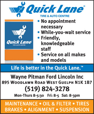 QuickLane (519-824-3278) - Display Ad