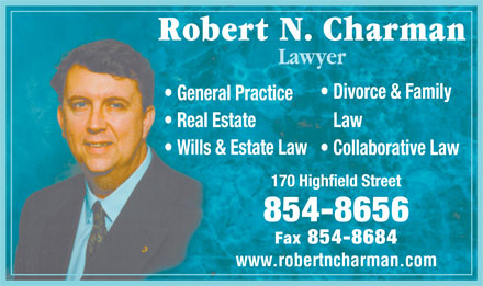 Charman Robert N (506-854-8656) - Display Ad - Lawyer www.robertncharman.com Lawyer www.robertncharman.com