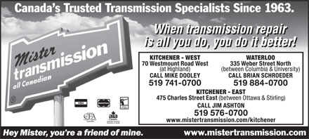 Mister Transmission (519-741-0700) - Display Ad
