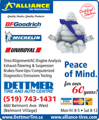 Dettmer Tire & Auto Centre-Alliance Tire Professionals (519-743-1431) - Annonce illustrée