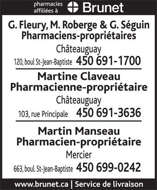 Brunet Pharmacies Affiliées (450-691-1700) - Display Ad