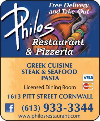 Philos Restaurant Cornwall Menu