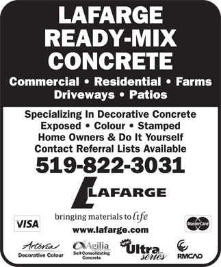 Lafarge Canada Inc (519-822-3031) - Display Ad