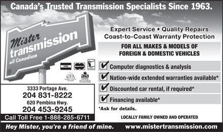 Mister Transmission (204-831-8222) - Display Ad
