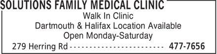 Solutions Family Medical Clinic (902-477-7656) - Annonce illustrée - Walk In Clinic Dartmouth & Halifax Location Available Open Monday-Saturday