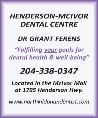 McIvor Dental Centre (204-338-0347) - Display Ad