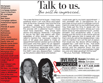 Verico Zanders & Associates Mortgage Brokers Inc (1-877-638-3688) - Display Ad