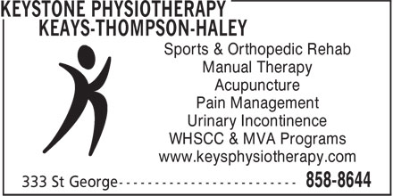 Keays-Thompson-Haley Physiotherapy (506-858-8644) - Annonce illustrée======= - Sports & Orthopedic Rehab - Manual Therapy - Acupuncture - Pain Management - Urinary Incontinence - WHSCC & MVA Programs - www.keysphysiotherapy.com