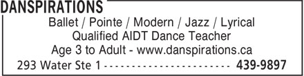 Danspirations (902-439-9897) - Display Ad - Ballet / Pointe / Modern / Jazz / Lyrical Qualified AIDT Dance Teacher Age 3 to Adult - www.danspirations.ca Ballet / Pointe / Modern / Jazz / Lyrical Qualified AIDT Dance Teacher Age 3 to Adult - www.danspirations.ca