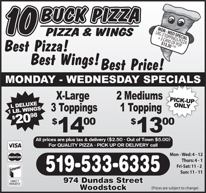 10 Buck Pizza (519-533-6335) - Display Ad