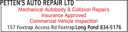 Petten's Auto Repair Ltd (709-834-5176) - Annonce illustrée - Mechanical Autobody & Collision Repairs Insurance Approved Commercial Vehicle Inspection