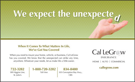 Cal LeGrow Insurance (709-700-1021) - Display Ad