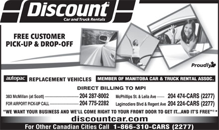 Discount Car And Truck Rentals (204-287-8002) - Display Ad