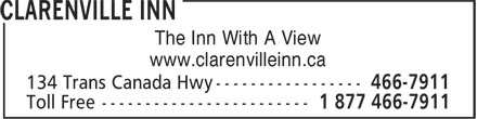 Clarenville Inn (709-466-7911) - Display Ad - The Inn With A View www.clarenvilleinn.ca www.clarenvilleinn.ca The Inn With A View