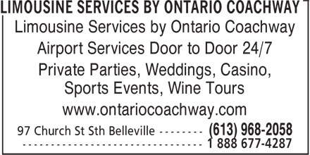 Limousine Services by Ontario Coachway (613-968-2058) - Annonce illustrée - Limousine Services by Ontario Coachway Airport Services Door to Door 24/7 Private Parties, Weddings, Casino, Sports Events, Wine Tours www.ontariocoachway.com