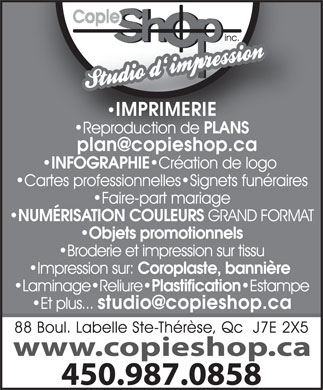 Copie Shop Photocopie Inc (450-430-7930) - Annonce illustr&eacute;e
