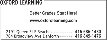 Oxford Learning (416-686-1430) - Display Ad - Better Grades Start Here! www.oxfordlearning.com Better Grades Start Here! www.oxfordlearning.com