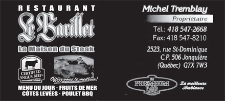 Restaurant Le Barillet (418-547-2668) - Display Ad