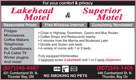 Lakehead Motel (807-345-4487) - Display Ad