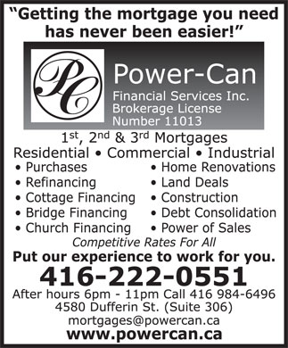 Power-Can Financial Services Inc (416-222-0551) - Annonce illustrée