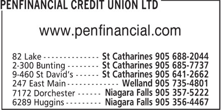 PenFinancial Credit Union Ltd (905-688-2044) - Display Ad - Welland 905 735-4801 www.penfinancial.com