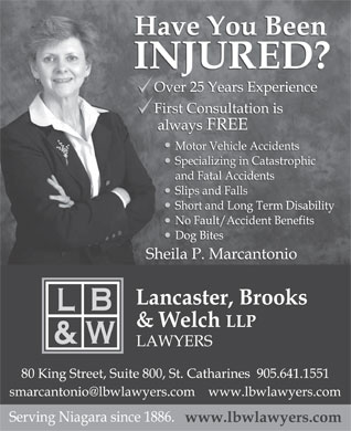 Lancaster Brooks & Welch (905-641-1551) - Display Ad